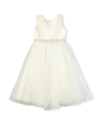 Satin & Textured Tulle Special Occasion Dress, Ivory/Gold, Size 2-6