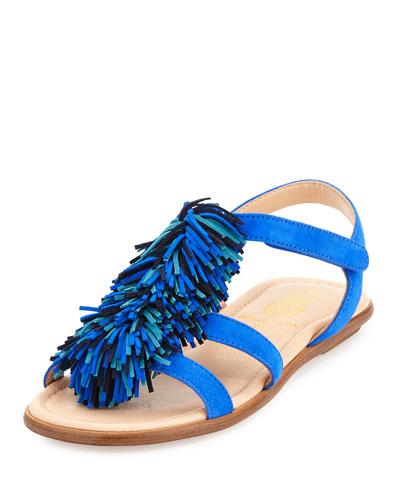 Aquazzura Wild Fringe Suede Sandal, Blue, Toddler / youth
