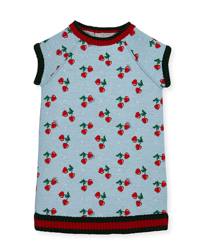 Heart Cherries Raglan Jersey Dress, Size 3-36 Months