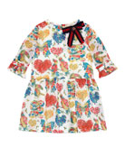 Cotton Muslin Corsage Dress, Pink/White, Size 6-12