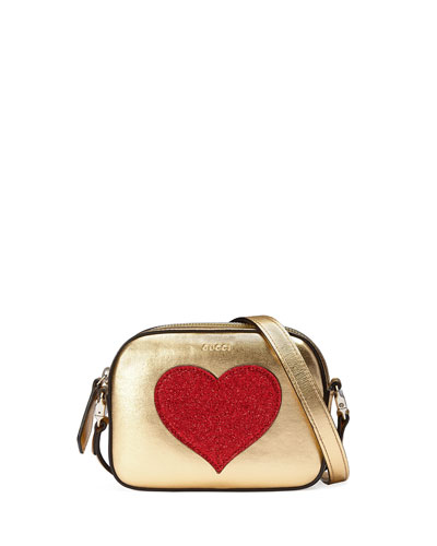 Girls' Metallic Leather Crossbody Bag, Gold
