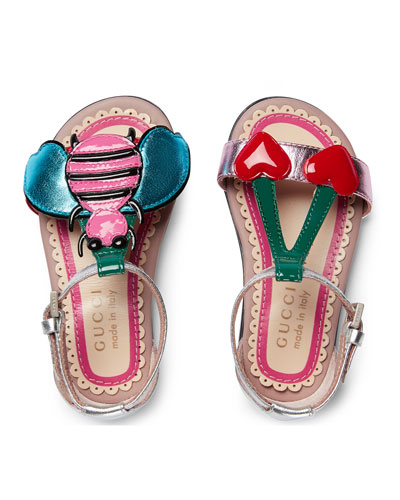 Metallic Leather Graphic Sandal, Toddler Sizes 4-10