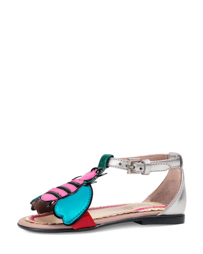 Metallic Leather Graphic Sandal, Toddler