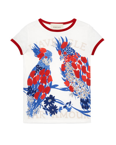 Short-Sleeve Cotton Jersey Parrot Tee, White, Size 4-12
