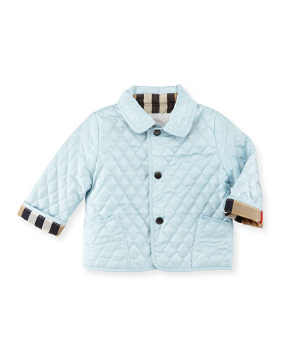 Colin Quilted Check-Trim Jacket, Porcelain, Size 6-18 Months