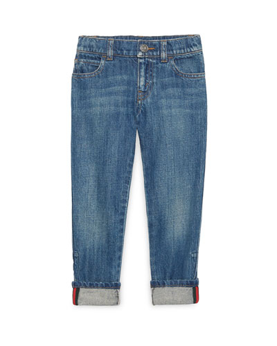 Washed Denim Straight-Leg Jeans, Blue, Size 4-12