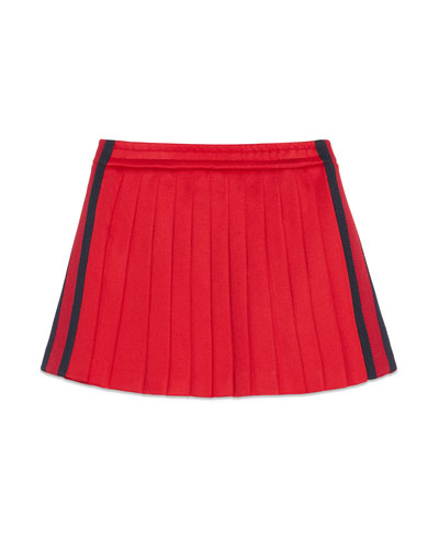 Pleated Tech Jersey Skirt, Red/Blue, Size 4-12