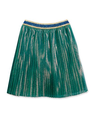 Iridescent Silk-Blend Plissé Skirt, Multicolor, Size 4-12