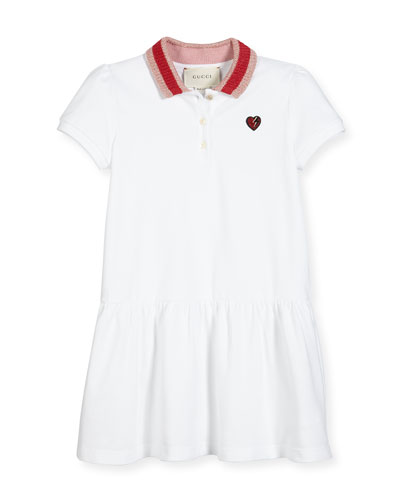 Cap-Sleeve Pique Polo Dress, White/Multicolor, Size 4-12