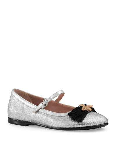 Metallic Leather Mary Jane Flat, Silver, Youth