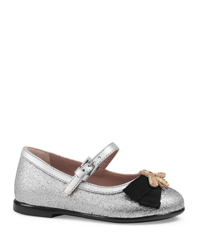 Metallic Leather Mary Jane Flat, Silver, Toddler Sizes 5-10