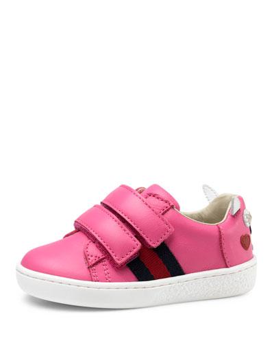 Leather Grip-Strap Rabbit Sneaker, Pink, Toddler