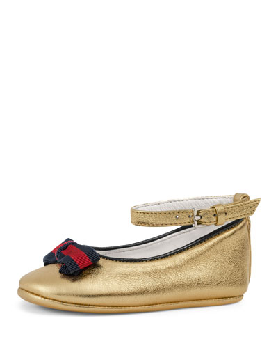 Metallic Leather Ballet Flat, Gold, Infant