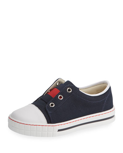 Canvas Low-Top Slip-On Sneaker, Blue/Red, Toddler Sizes 8-10