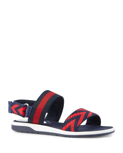 Chevron Leather Sandal, Blue/Red, Toddler/Youth Sizes 10T-2Y