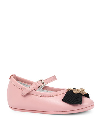 Leather Ballet Flat w/ Bee, Pink, Infant Sizes 0-12 Months