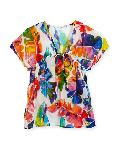 Banana Leaf Swim Coverup, Multicolor, Size 4-7