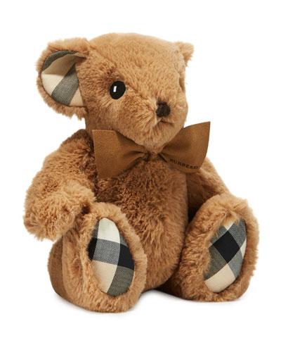 Plush Baby Teddy Bear w Check Trim