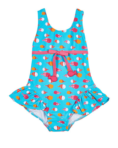 One-Piece Ruffle Fish-Print Swimsuit, Multicolor, Size 6-24 Months