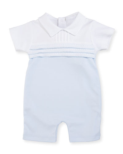 Kissy Homecoming Pintucked Pima Shortall, Blue, Size 0-9 Months
