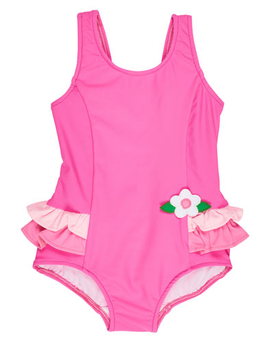 Ruffle-Trim Colorblock One-Piece Swimsuit, Pink, Size 2T-6X