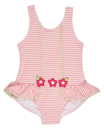 Skirted Striped Seersucker Swimsuit, Pink, Size 2T-6X