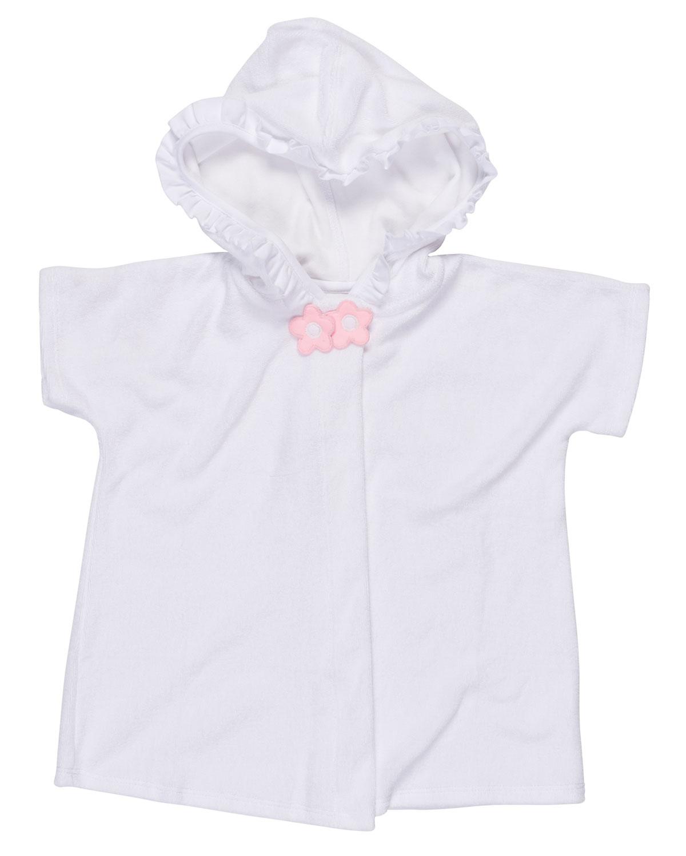 Hooded Ruffle-Trim Swim Coverup, White, Size 2T-6X