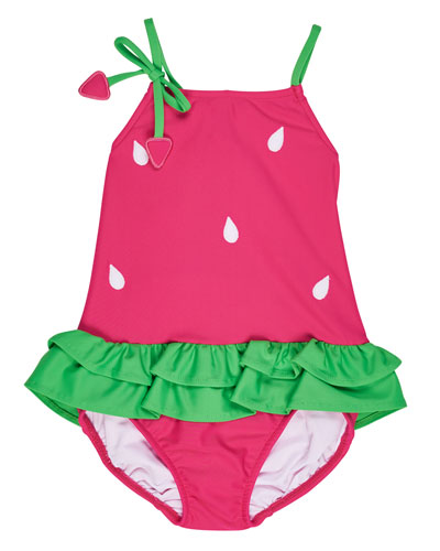 Skirted One-Piece Strawberry Swimsuit, Pink, Size 2T-6X