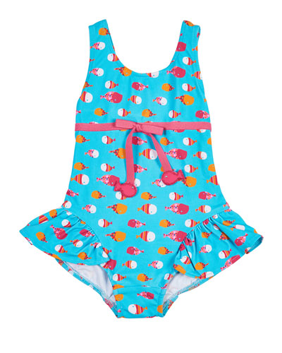 One-Piece Ruffle Fish-Print Swimsuit, Multicolor, Size 2T-4T