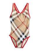 Beadnell Check One-Piece Swimsuit, Tan, Size 4-14
