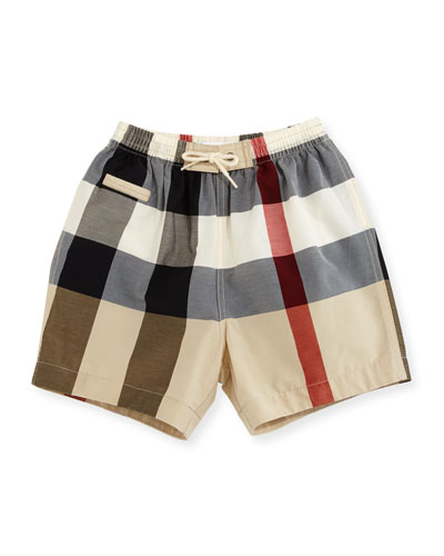 Saxon Check Swim Trunks, Multicolor, Size 6M-3