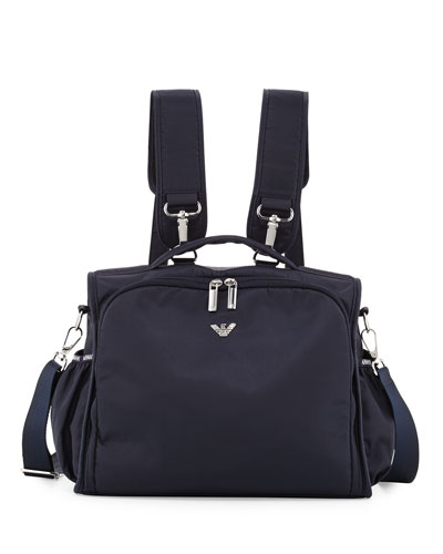 Nylon Backpack Diaper Bag, Navy