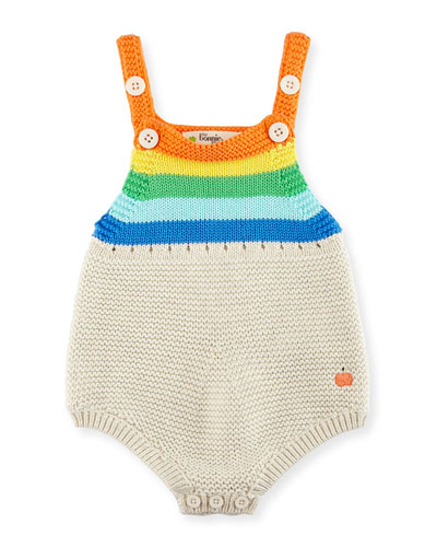 Sleeveless Striped Organic Cotton Playsuit, Multicolor, Size 0-24 Months
