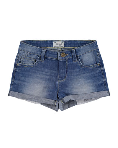 Light Wash Stretch Denim Shorts, Medium Blue, Size 8-16