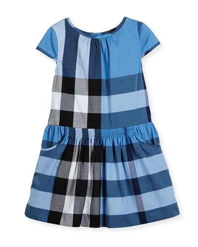 Judie Cap-Sleeve Smocked Check Shift Dress, Blue, Size 4-14