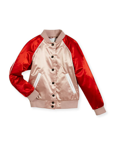 Bartinstead Satin Colorblock Varsity Jacket,