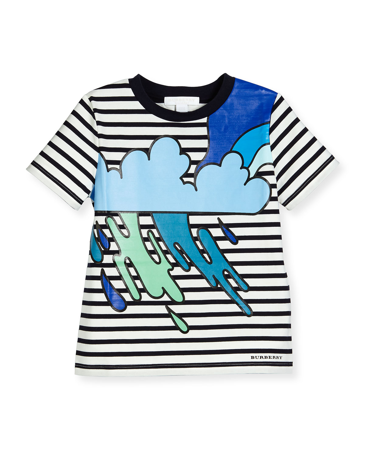 Striped Storm Cloud Jersey Tee, Navy/White/Black, Size 4-14