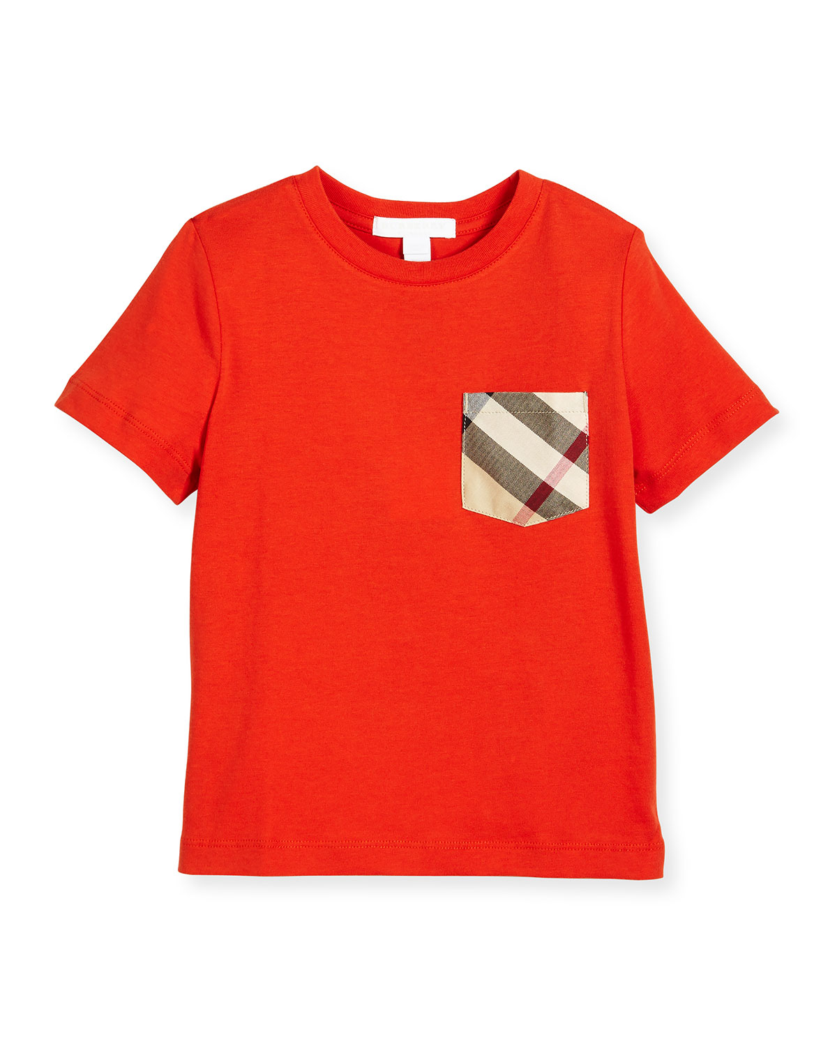 YNG Check-Pocket Jersey Tee, Orange-Red, Size 4-14
