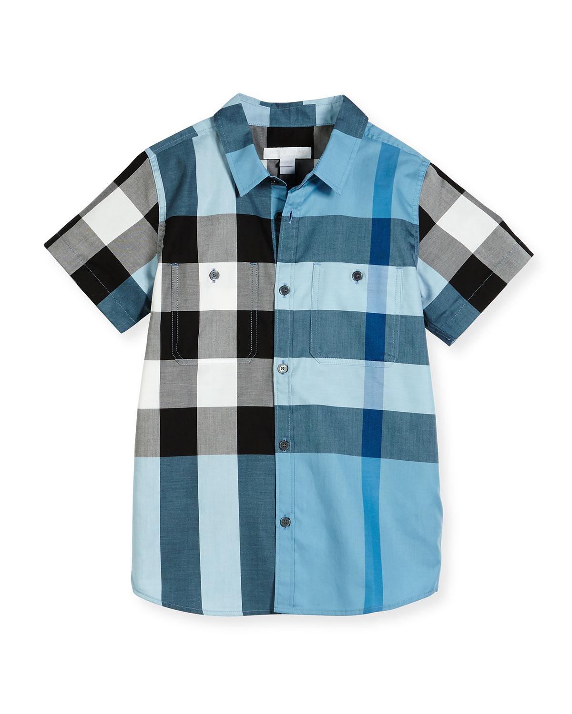 Camber Poplin Check Shirt, Blue, Size 4-14