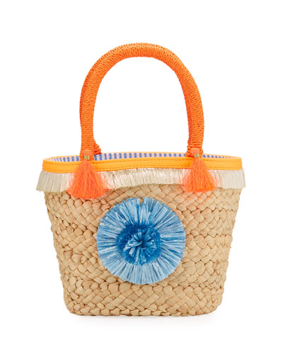 Girls' Small Straw Pompom Tote Bag, Beige