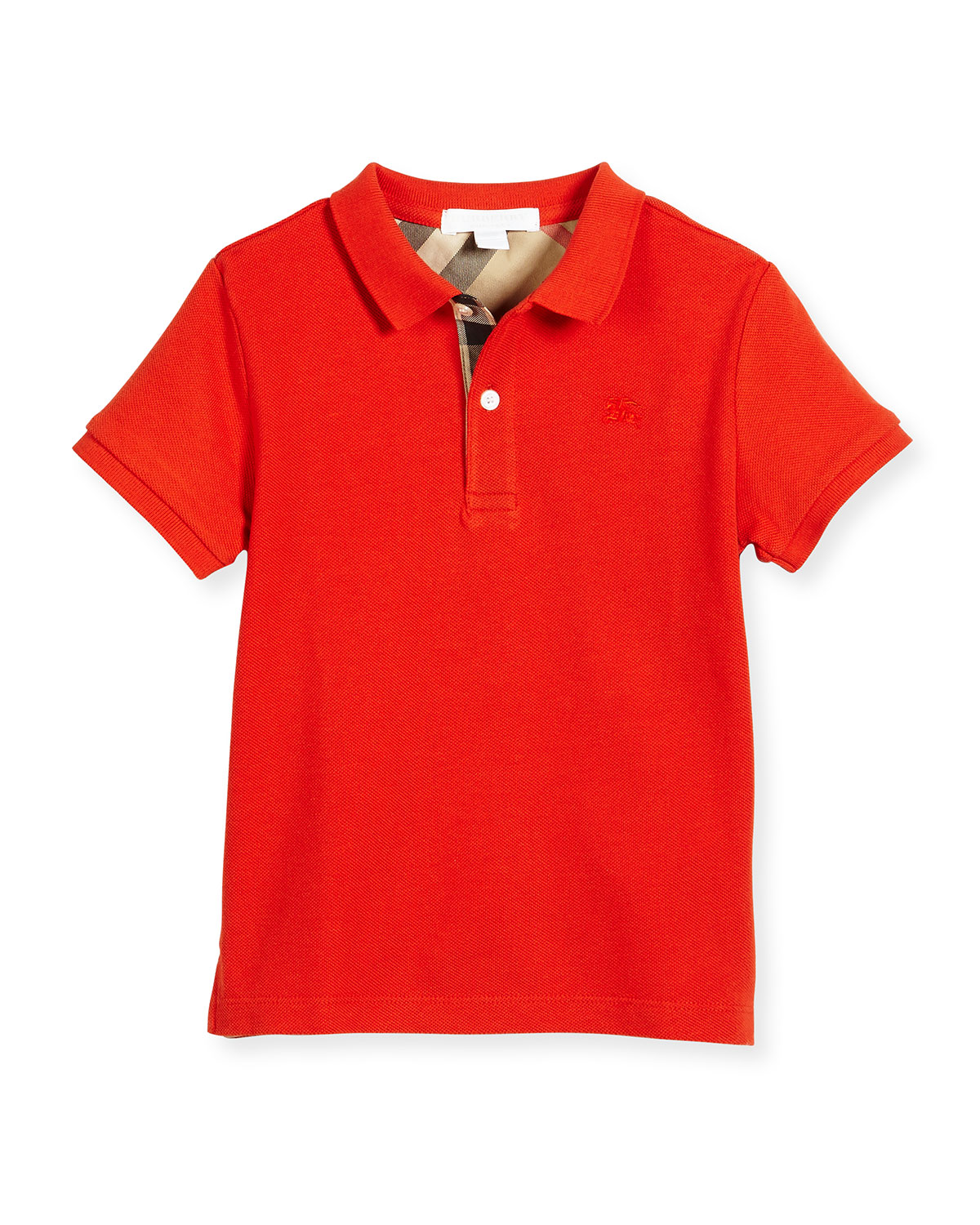 Mini PPM Pique Polo Shirt, Orange-Red, Size 4-14