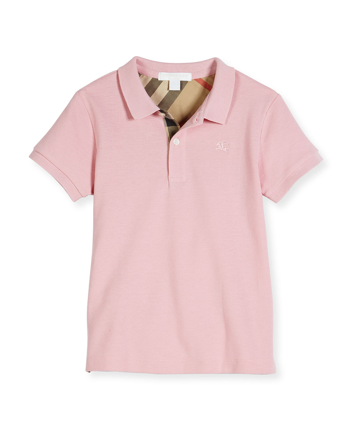 Mini PPM Pique Polo Shirt, Light Pink, Size 4-14