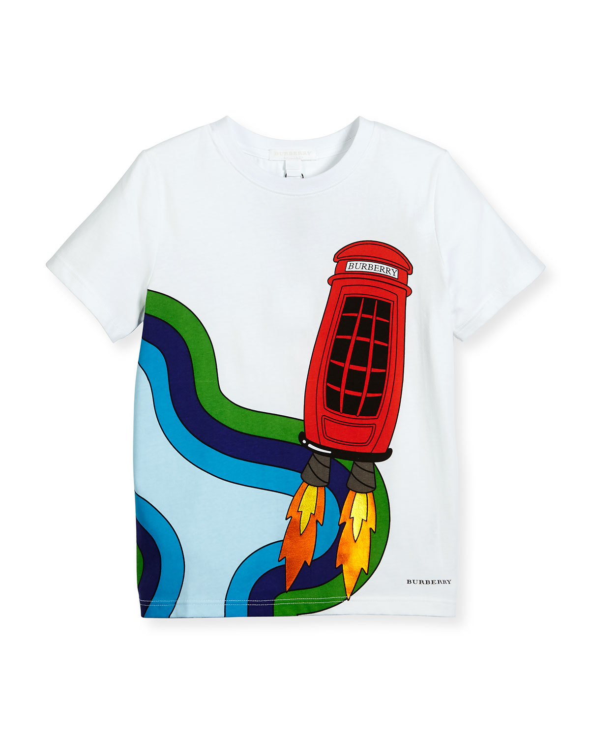 Rocket Telephone Box Jersey Tee, White, Size 4-14