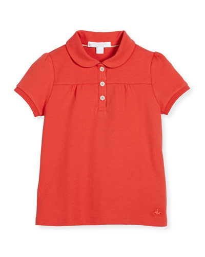 Karley Pique Polo Shirt, Red, Size 4-14