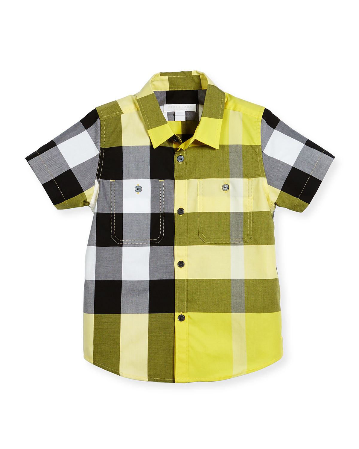 Mini Camber Short-Sleeve Check Shirt, Yellow, Size 4-14