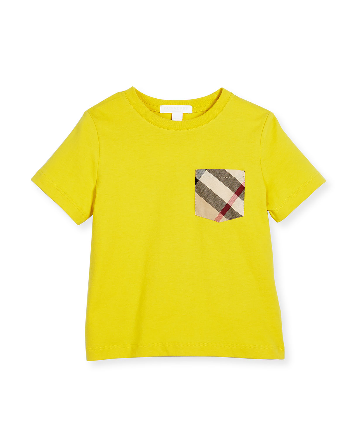 Callum Check-Pocket Jersey Tee, Yellow, Size 4-14