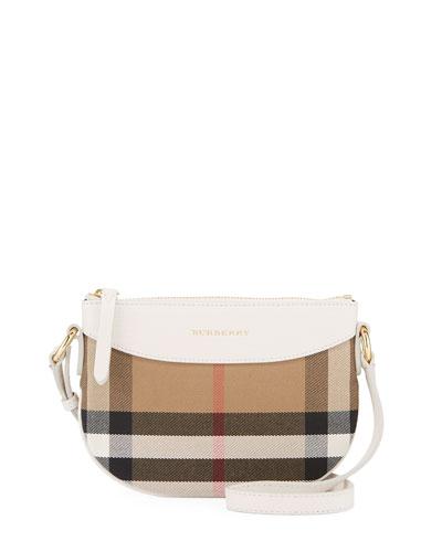 Girls' Coca Check Canvas Leather-Trim Crossbody Bag, White