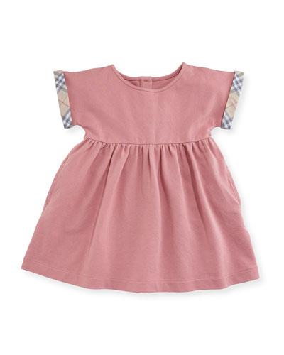 Jen Cap-Sleeve Pique Dress, Light Pink, Size 3-24 Months