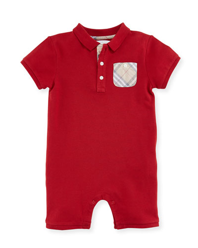 Peter Stretch Pique Shortall, Red, Size 3-24 Months