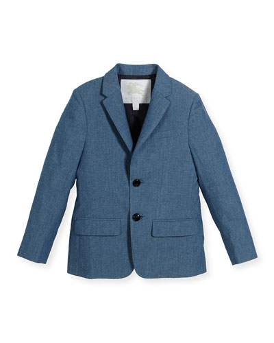 Tuxy Single-Breasted Chambray Blazer, Blue, Size 4-14
